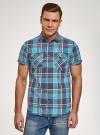 Рубашка хлопковая с короткими рукавами и нагрудными карманами oodji #SECTION_NAME# (синий), 3L410152M/49928N/7545C - вид 2