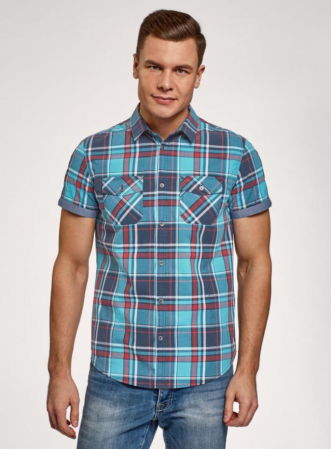 Рубашка хлопковая с короткими рукавами и нагрудными карманами oodji #SECTION_NAME# (синий), 3L410152M/49928N/7545C