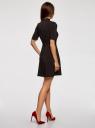 Платье с декоративной отделкой горловины и вставкой из кружева oodji #SECTION_NAME# (черный), 11913033/42250/2900N - вид 3