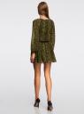 Платье принтованное с заниженной талией на резинке oodji для женщины (зеленый), 21914004/45773/6668A