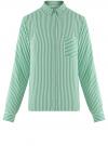Блузка вискозная с нагрудным карманом oodji #SECTION_NAME# (зеленый), 11401275-1/24681/6C10S