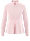 Блузка хлопковая с баской oodji #SECTION_NAME# (розовый), 13K00001-1B/42083/4000N