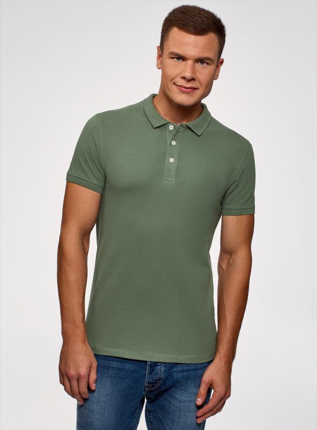 Поло из ткани пике oodji для мужчины (зеленый), 5B422001M/44032N/6600N