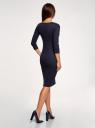 Платье в рубчик с рукавом 3/4 oodji #SECTION_NAME# (синий), 14001196/46412/7900N - вид 3