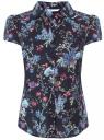 Блузка принтованная из легкой ткани oodji #SECTION_NAME# (синий), 21407022-9/12836/7947F - вид 2