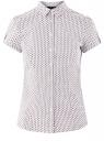 Рубашка хлопковая с коротким рукавом oodji #SECTION_NAME# (белый), 13K01004-3B/48461/1041G