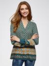Блузка прямого силуэта с V-образным вырезом oodji #SECTION_NAME# (зеленый), 21400394-3/24681/6957E - вид 2