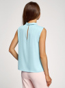 Блузка базовая без рукавов с воротником oodji #SECTION_NAME# (бирюзовый), 11411084B/43414/7000N - вид 3