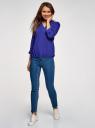 Блузка вискозная с рукавом-трансформером 3/4 oodji для женщины (синий), 11403189-3B/26346/7502N