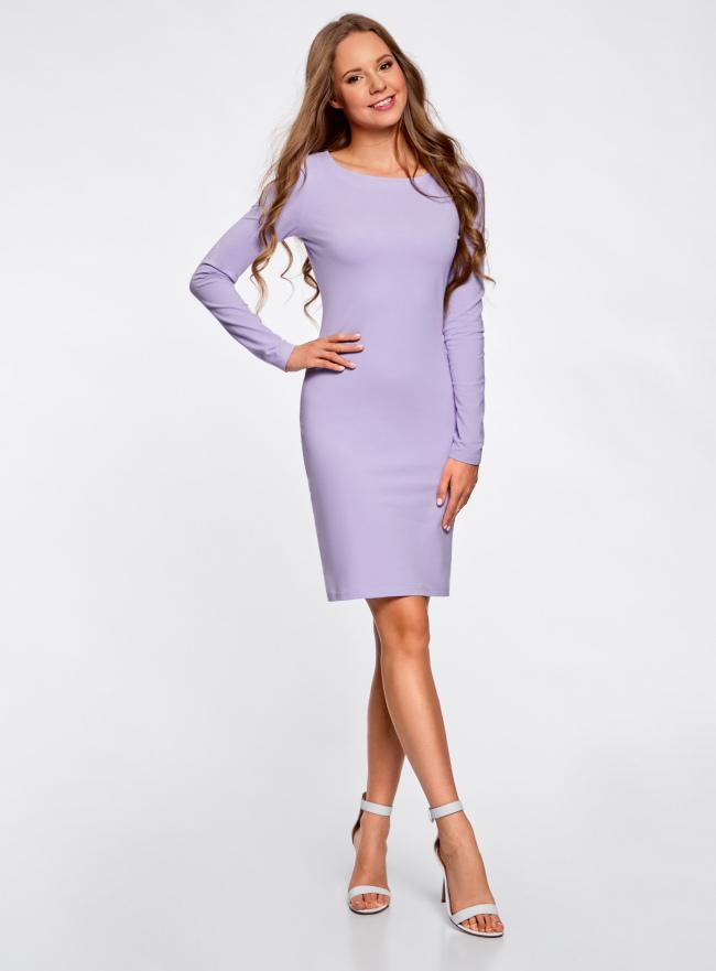Платье трикотажное облегающего силуэта oodji для женщины (фиолетовый), 14001183B/46148/8000N