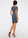 Платье трикотажное принтованное oodji для женщины (синий), 14001117-7/16564/7512G - вид 3