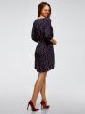 Платье вискозное с рукавом 3/4 oodji #SECTION_NAME# (синий), 11901153-1B/42540/7957O - вид 3