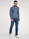 Пуловер вязаный в полоску с шалевым воротником oodji #SECTION_NAME# (синий), 4L207016M/44407N/7400M - вид 6