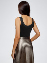 Топ трикотажный в бельевом стиле oodji для женщины (черный), 14306005B/48684/2900N