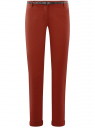 Брюки-чиносы с ремнем oodji #SECTION_NAME# (красный), 11706190-5B/32887/4903N