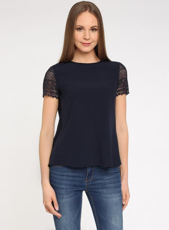 Блузка с кружевными рукавами oodji для женщины (синий), 21400398/31252/7900N