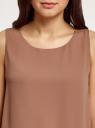Топ с кружевной отделкой по низу oodji для женщины (коричневый), 14911012/43414/3701N