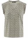Блузка из принтованной вискозы с двумя карманами oodji #SECTION_NAME# (белый), 21412132-2/24681/1252E