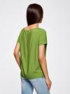 Блузка вискозная свободного силуэта oodji для женщины (зеленый), 21411119-1/26346/6B00N - вид 3