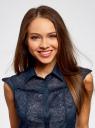 Блузка из ткани деворе oodji #SECTION_NAME# (синий), 11405092-5/26206/7900N