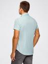 Рубашка клетчатая с коротким рукавом oodji #SECTION_NAME# (бирюзовый), 3L210030M/44192N/106CC - вид 3