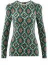 Футболка хлопковая с длинным рукавом oodji для женщины (зеленый), 14201033/46147/6245E