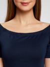 Платье трикотажное с вырезом-лодочкой oodji #SECTION_NAME# (синий), 14007026-1/37809/7900N - вид 4