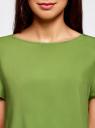 Блузка вискозная свободного силуэта oodji #SECTION_NAME# (зеленый), 21411119-1/26346/6B00N - вид 4