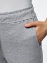 Брюки базовые на завязках oodji для женщины (серый), 16701057B/48396/2000M
