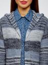 Кардиган полосатый с капюшоном oodji для женщины (синий), 63205244/46133/7479S