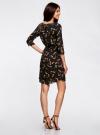 Платье вискозное с рукавом 3/4 oodji #SECTION_NAME# (черный), 11901153-1B/42540/3959A - вид 3