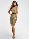 Платье трикотажное с ремнем oodji #SECTION_NAME# (желтый), 24008033-2/16300/5231E - вид 2