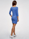 Платье трикотажное базовое oodji #SECTION_NAME# (синий), 14001071-2B/46148/7079S - вид 3