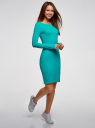 Платье трикотажное облегающего силуэта oodji #SECTION_NAME# (бирюзовый), 14001183B/46148/7300N - вид 6