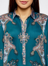 Блузка из струящейся ткани с принтом oodji #SECTION_NAME# (бирюзовый), 21411144-3/35542/7475E - вид 4