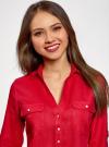 Блузка льняная с карманами oodji #SECTION_NAME# (красный), 21412145/42532/4500N - вид 4