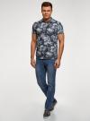 Рубашка принтованная с коротким рукавом oodji #SECTION_NAME# (синий), 3L410133M/44425N/7970F - вид 6