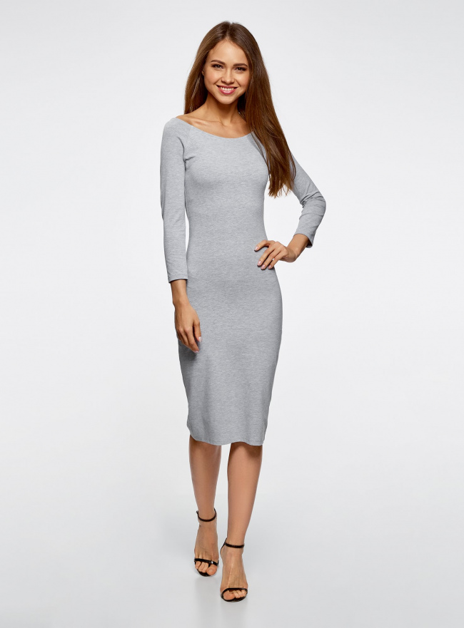 Платье с вырезом-лодочкой (комплект из 2 штук) oodji #SECTION_NAME# (серый), 14017001T2/47420/2000M