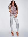 Блузка шифоновая без рукавов oodji для женщины (серый), 11411160/38375/2340F