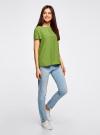 Блузка вискозная свободного силуэта oodji для женщины (зеленый), 21411119-1/26346/6B00N - вид 6
