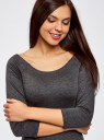 Платье облегающее с вырезом-лодочкой oodji для женщины (серый), 14017001/42376/2500M