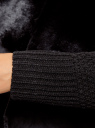 Кардиган вязаный с полами из искусственного меха oodji для женщины (черный), 73205182-1/31328/2900N