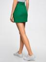 Юбка короткая с отделкой из искусственной кожи oodji для женщины (зеленый), 11601179-10/46415/6E00N