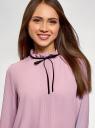 Блузка с декоративными завязками и оборками на воротнике oodji для женщины (фиолетовый), 11411091-2/36215/8000N
