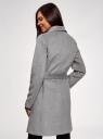 Пальто без застежки с поясом oodji #SECTION_NAME# (серый), 10104042-1/47736/2501M - вид 3