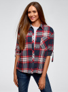 Рубашка в клетку с нагрудным карманом oodji #SECTION_NAME# (синий), 13L11013-1/48490/7912C - вид 2
