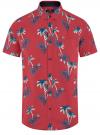 Рубашка хлопковая с короткими рукавами и нагрудным карманом oodji #SECTION_NAME# (красный), 3L410154M/49929N/4579G
