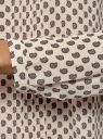 Блузка с декоративными завязками и оборками на воротнике oodji #SECTION_NAME# (бежевый), 11411091-2/36215/4029E - вид 5