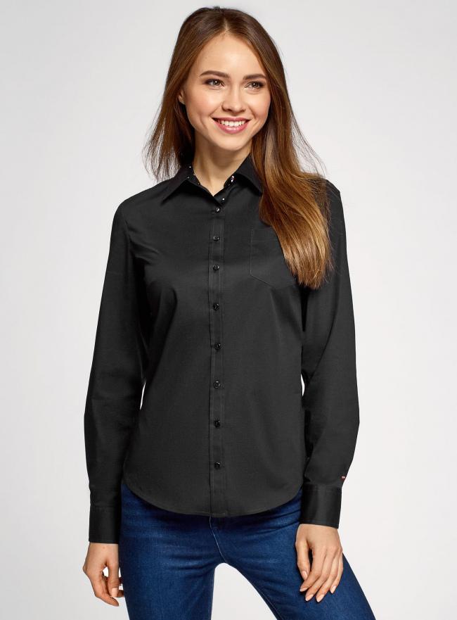 Рубашка базовая с одним карманом oodji для женщины (черный), 11403205-7/26357/2900N
