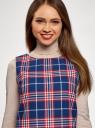 Платье клетчатое без рукавов oodji #SECTION_NAME# (синий), 11910072-2/32831/7945C - вид 4